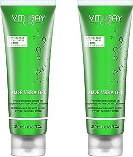 Aloe Vera Gel 2 x 250 ml - 99.9% Aloe Vera  Gurken Extrakt - feuchtigkeitsspendend, hautberuhigend