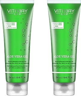 Aloe Vera Gel 500 ml 2 x 250 ml - 99.9% Aloe Vera plus Gurken Extrakt Feuchtigkeitsspendend - Hautberuhigend