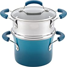 Rachael Ray Brights Sauce Pot/Saucepot with Steamer Insert, 3 Quart, Marine Blue Gradient