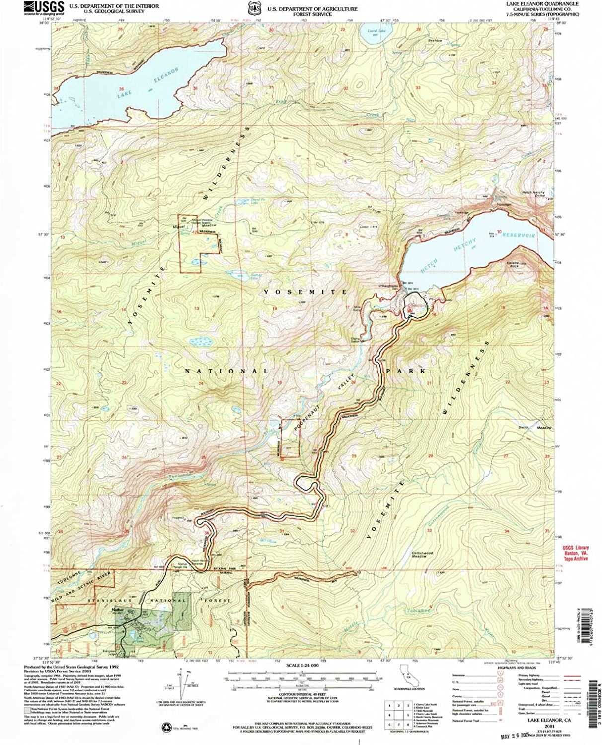 Lake Eleanor CA topo map, 1 24000 Scale, 7.5 X 7.5 Minute, Historical, 2001, Updated 2004, 26.8 x 21.9 in