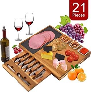 Prime Garden Extra Large Acacia Wood Cheese Board and Knife Set, 21-Piece Charcuterie Platter Serving Tray for Meat, Wine & Cheese