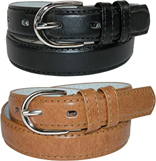 CTM Kid's Basic Leather Dress Belt (Pack of 2 Colors)