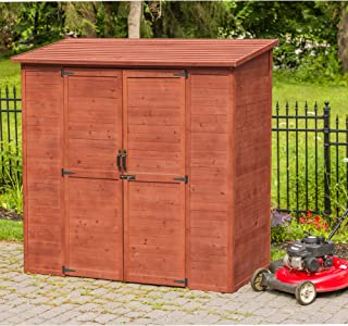 Leisure Season ELSS2003 Extra Large Outdoor Storage Shed - Brown - Wooden Gardening Lockers, Closet - Tool Organizer Cabinet with Double Doors, Adjustable Shelves - Yard, Garden, Lawn Patio Furniture