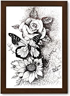 Wall Painting Photo Frame of Butterfly with Flower | Handmade Painting | Modern Art Pen Sketch Drawing | Portrait Painting...