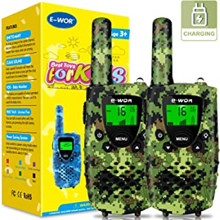 E-WOR Kids Walkie Talkies, Rechargeable 4 Miles Range 22 Channels 2 Way Radios with Flashlight and LCD Screen, Toys for Boys and Girls, Best Birthday for 3-12 Years Old Kids