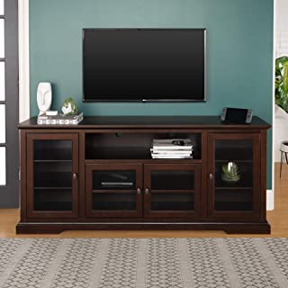 WE Furniture Traditional Wood and Glass Stand with Cabinet Doors for TV's up to 80