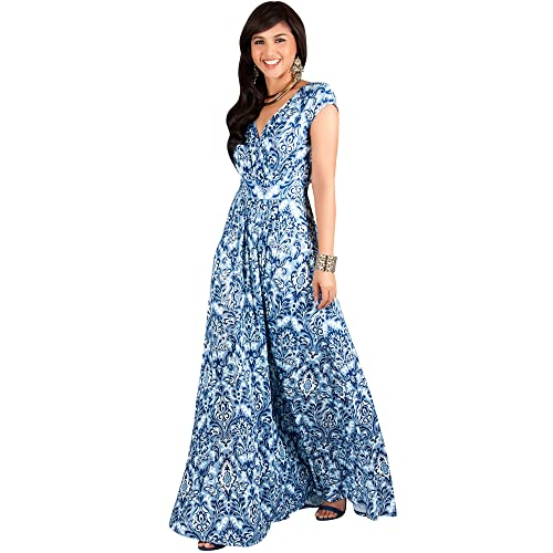 b90e52e02b319 KOH KOH Womens Long Cap Short Sleeve Print V-Neck Empire Waist Summer Maxi  Dress
