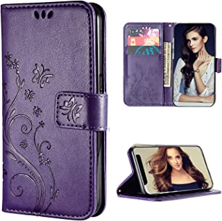 iPhone 11 Wallet Case,FLYEE [Embossed Butterfly Flower] Pu Leather Flip case Kickstand Closure Magnetic Protective Cover with Card Slots for Women and Girls Fit Apple iPhone 11 6.1 inch [Purple]