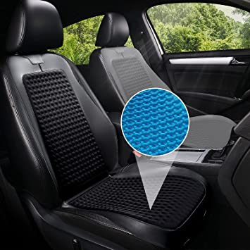 Baoll Car Seat Cover, 1 Pack Gel & Memory Foam Front Seats Cushion, Universal Cooling Car Seat Protectors, Padded Luxury Leather Cover with Non-Slip Bottom, Black: image