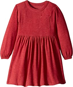 Super Soft Blouson Sleeve Empire Waist Mini Dress with Pocket (Toddler/Little Kids)