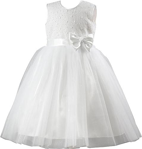 Boutique-Magique Robe de cérémonie baptême Communion Blanche pour Enfant Tulle Paillette