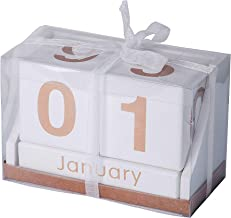 Decorative Desk Calendar - Wooden Block Perpetual Month and Days Calendar (White with Gold Letters)