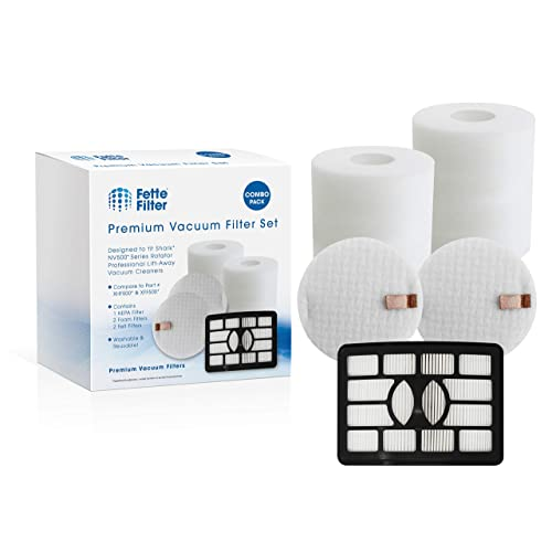 Fette Filter - Foam Vacuum Filters Compatible with Shark Rotator Professional Lift-Away NV500, NV501, NV502, NV505, NV510, NV552, UV560. Compare to # XHF500 & XFF500. (1 Hepa 2 Foam)