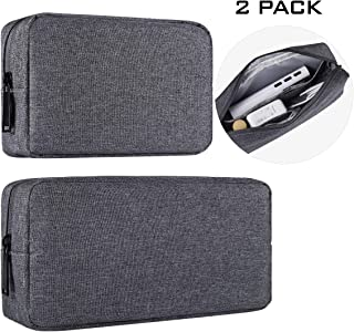 Universal Electronics Accessories Carrying Case Bag, 2PCS Big + Small Portable Storage Pouch Bag Cosmetic Bag Cable Organizer Compatible Hard Drive, Mouse, Power Bank, Adapter, Cellphone, Space Gray