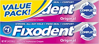 Fixodent Complete Original Denture Adhesive Cream, 2.4 Ounce, Pack of 2