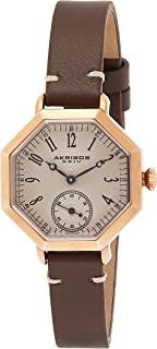 Akribos Xxiv Women'S Rose Gold Dial Leather Band Watch - Ak771Rgbr
