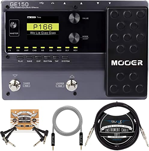 lowest MOOER GE150 Electric Guitar Amp Modelling Multi-Effects Pedal Bundle with Blucoil 10-FT Straight Instrument Cable (1/4in), 2-Pack of wholesale Pedal Patch new arrival Cables, and 5-FT Audio Aux Cable online