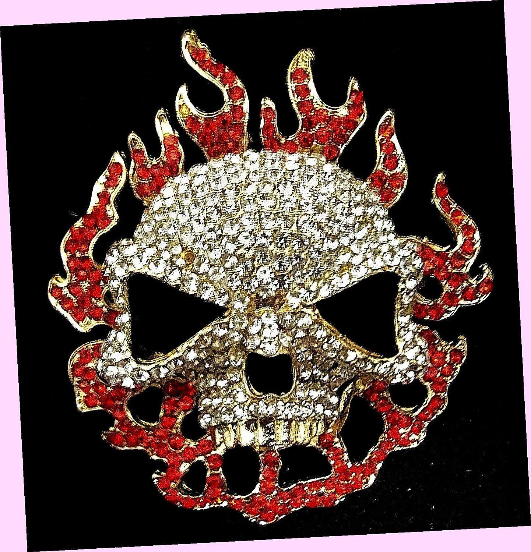 Skull Red Flames Bombing new work Rhinestone Halloween Retro Costume Style L Goth Time sale