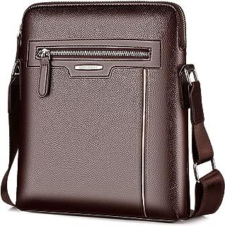 Men's Shoulder Bag, Popoti Leather Shoulder Bag Handbag Schoolbag Crossbody Bags Daypack Briefcase Multifunctional Vintage Messenger Bag (Brown-1)
