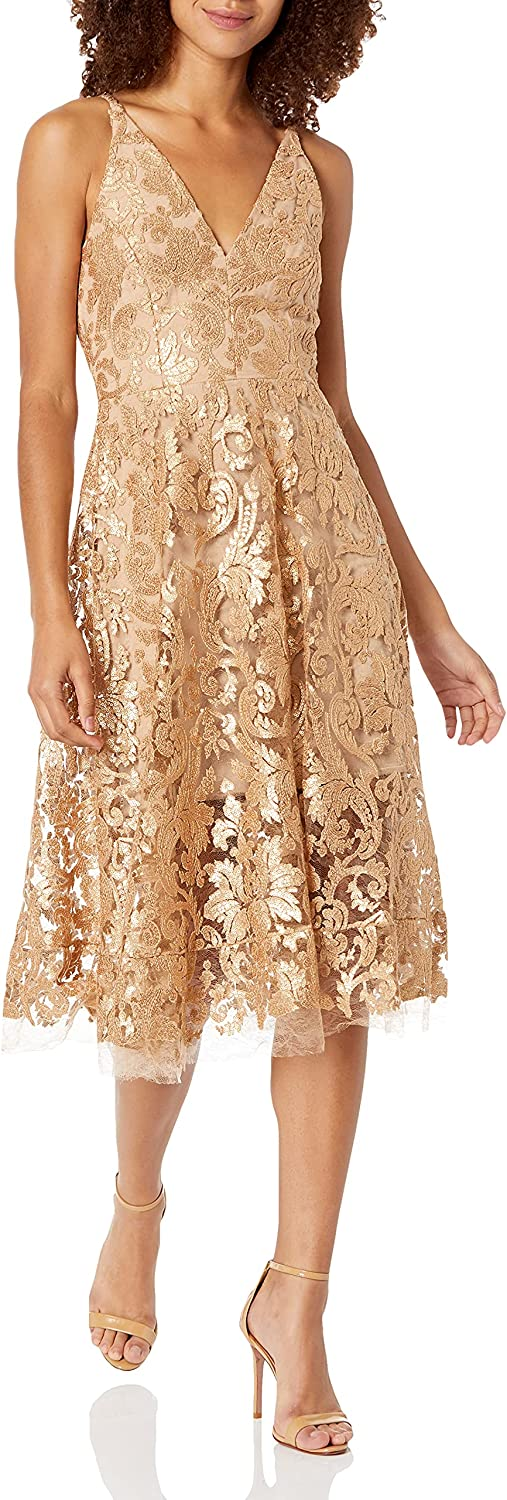 Dress the Population Women's Blair Plunging Fit and Flare Midi Dress, Gold/Nude, XL