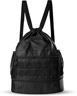Fitdom Drawstring Backpack for Men. Tactical Inspired with Shoe Compartment. Perfect Sports Gym Sack Bag for Soccer Basket...