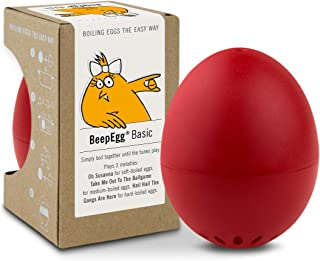 Brainstream BeepEgg Egg Timer, Basic, Cook Perfect Soft, Medium or Hard Boiled Eggs To Your Favorite Tunes Singing and Floating Egg Timer (Red)