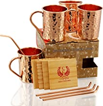 COPPER STRAIGHT STYLE HAMMERED MUGS- Set of 4 - Premium Quality Gift Set - 100% HANDCRAFTED - Food Safe - Pure Solid Copper Mugs 16 oz Hammered with BONUS: Copper Straws and Coasters - GIFT SET