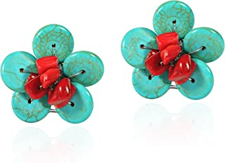Chic Reconstructed Red Coral and Simulated Turquoise Daisy Floral Clip On Earrings