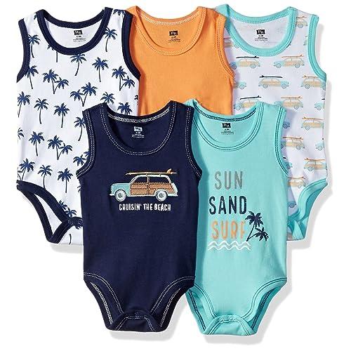 66d2261c13a9 Hudson Baby Sleeveless Bodysuits Boy 5-Pack