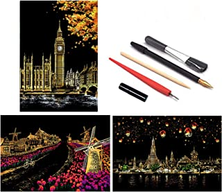 3Pack Scratch Painting Kits for Adults, Night View Art Paper for Adults and Kids 15.911.2inch
