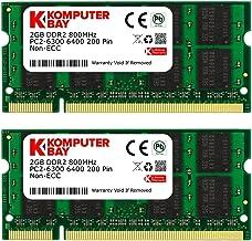Komputerbay 4GB Kit (2GBx2) DDR2 800MHz (PC2-6400) CL6 SODIMM 200-Pin 1.8v Notebook Laptop Memory Modules with Lifetime Wa...