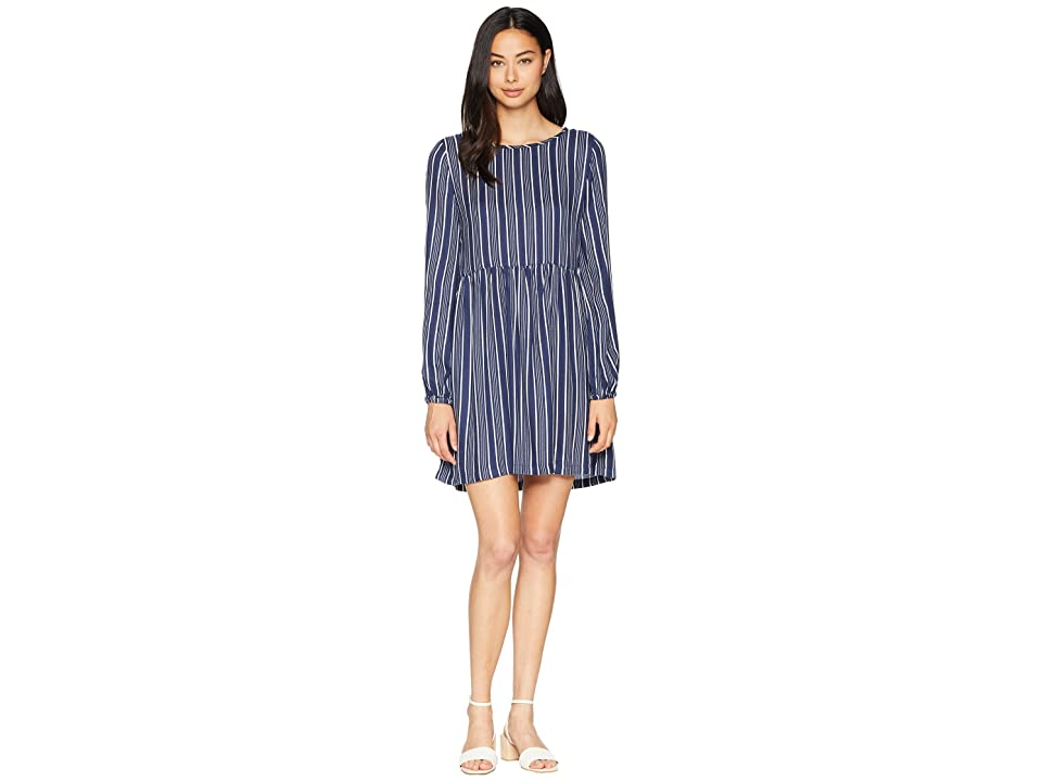 Roxy Highland Escape Woven Smocked Dress (Dress Blues Vertical Stripes) Women