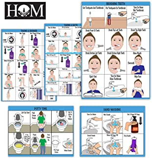"ALL NEW! ABA/OT Approved Step-By-Step 9X12"" Set of 5 Visual Schedules. Potty Training, Bathing, Shower, Teeth Brushing, Hand Washing.For Autism/Special Needs. Independent Living & Personal Hygiene"