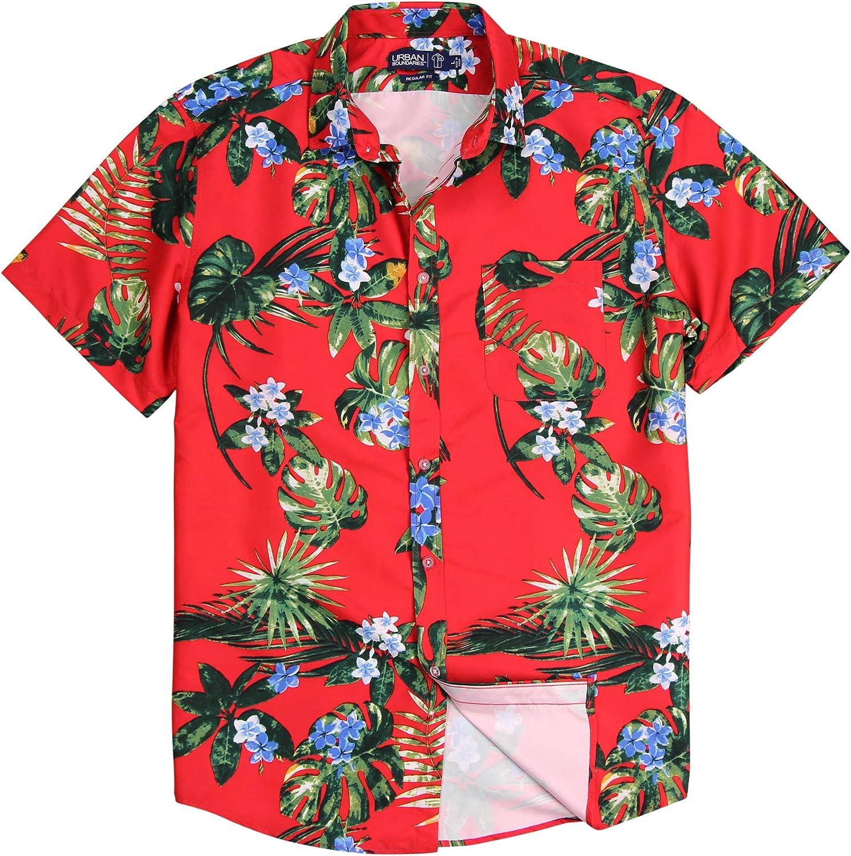 Men's Lightweight Pattern Short Sleeve Shirt (Hawaiian Flower (Red)