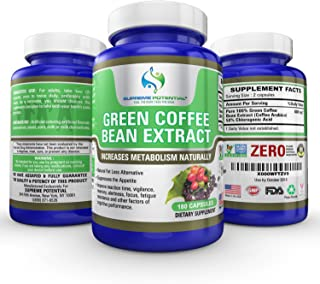 Supreme Potential 100% Pure Green Coffee Bean Extract for Natural Weight Loss and Metabolism Support - 800mg Capsules - 180 Capsules - 90 Day Supply - Manufactured in USA.