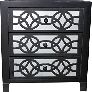 River of Goods Drawer Chest Glam Slam 3-Drawer Mirrored Wood Cabinet Furniture, Black