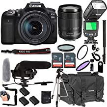 $1679 Get Canon EOS 90D with 18-135mm f/3.5-5.6 is USM Lens + 128GB Memory + Canon Deluxe Camera Bag + Pro Battery Bundle + Microphone + TTL Speed Light + Pro Filters,(22pc Bundle)