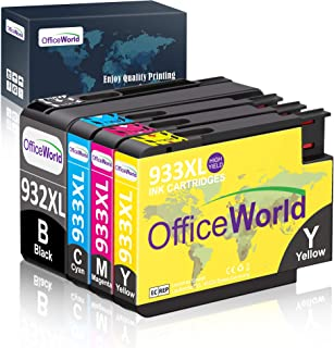 OfficeWorld Compatible Ink Cartridge Replacement for HP 932XL 933XL 932 933 Ink Cartridges (4 Packs), Work with HP Officej...