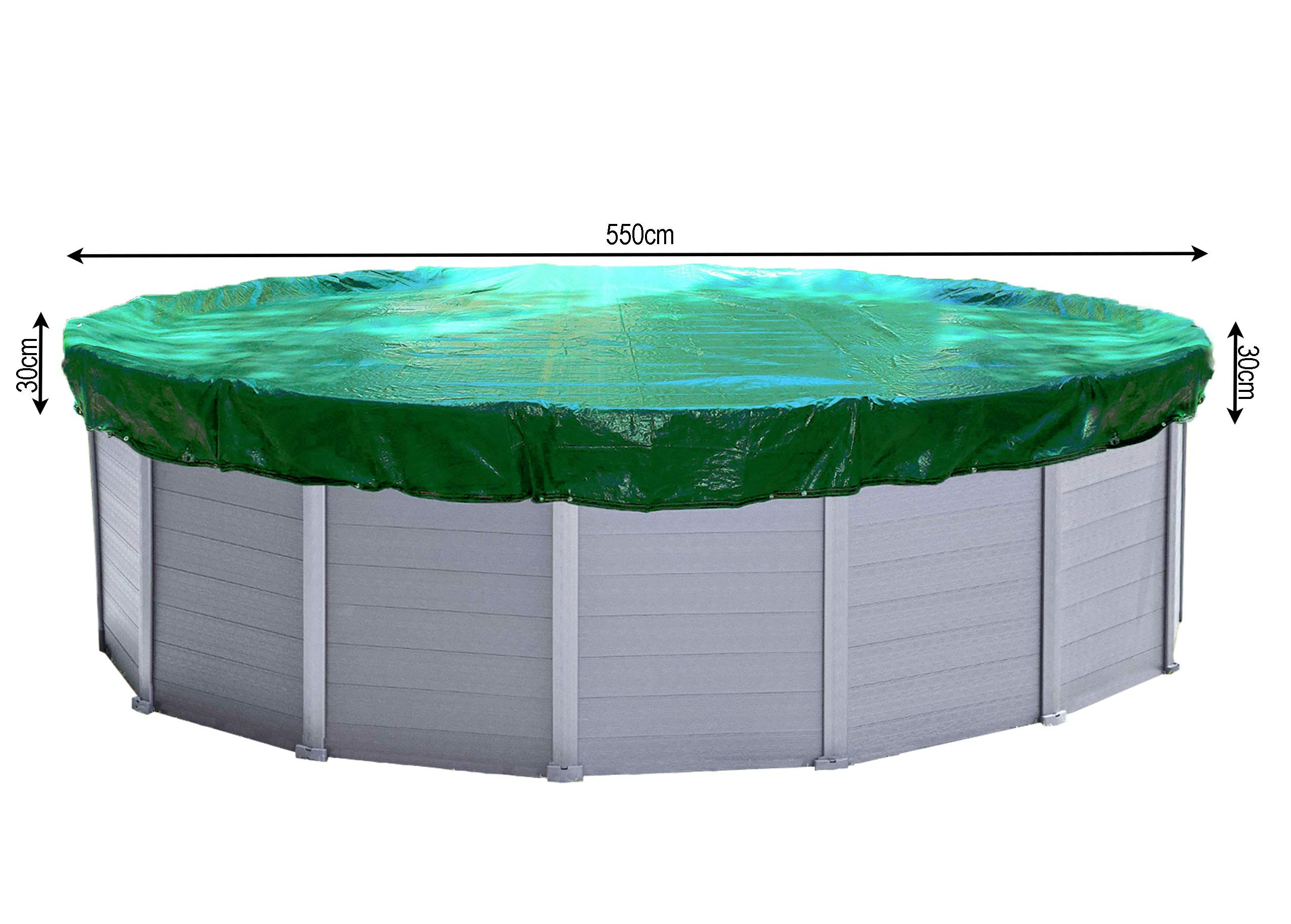 QUICK STAR Cubierta de piscina de invierno redonda 180g / m² para piscina 500 - 550 cm Dimensiones de lona ø 610 cm Verde: Amazon.es: Jardín