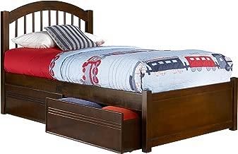 Atlantic Furniture Windsor Platform Bed with 2 Urban Bed Drawers, Twin XL, Walnut