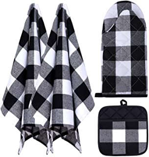 """Buffalo Check Red and Black Christmas Kitchen Towel Set with Pot Holders and Serving Tray to match /""""Its the Most Wonderful Time of the Year/"""" Black and Red Plaid Warm Farmhouse Style Oven Mitt"""