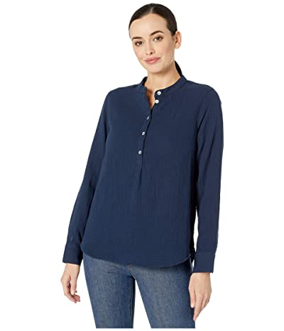 Three Dots Double Gauze Long Sleeve Henley (Night Iris) Women