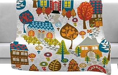 40 x 30 KESS InHouse Pom Graphic Design Blooming Trees Turquoise Circles Fleece Baby Blanket
