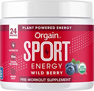 Orgain Wild Berry Sport Energy Pre-Workout Powder - Made with Green Coffee Beans, Organic Beets, Ginger, and Cordyceps, Gluten Free, Non-GMO, Vegan, Dairy and Soy Free - 0.53 lbs