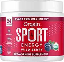 Orgain Wild Berry Sport Energy Pre-Workout Powder - Made with Green Coffee Beans, Organic Beets, Ginger, and Cordyceps, Gl...