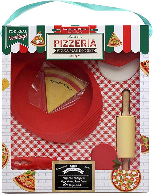 Handstand Kitchen Authentic Pizzeria 9 Piece Real Pizza Making Set With Recipes For Kids