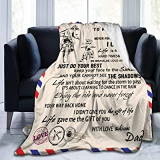 Letter Blanket to My Son Soft Warm Fuzzy Quilts Dad Mom for Son Air Mail Blanket Healing and Positive Flannel Blanket Enco...