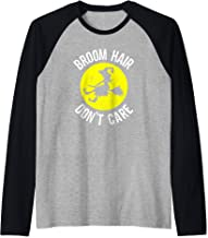 Broom Hair Dont Care Witch Funny Womens Witches Halloween Raglan Baseball Tee