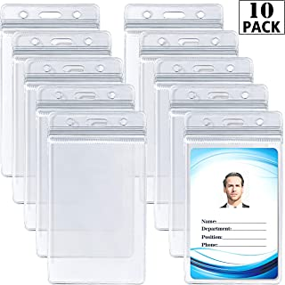 ID Card Name Tag Badge Holder – Waterproof Sealable Clear Plastic Vertical ID Card Holder for Work ID, Key Card, Driver's License (Vertical 10 Pack)