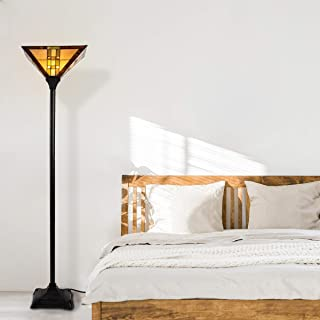 Lavish Home Tiffany Style Floor Lamp – Mission Design Art Glass Torchiere Lighting LED Bulb Included- Vintage Look Handcra...